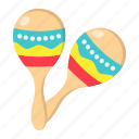 instrument, latin, maraca, maracas, mexican, music, sound icon