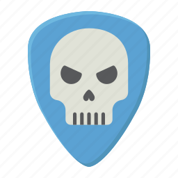 guitar, music, pick, play, rock, skull, sound icon
