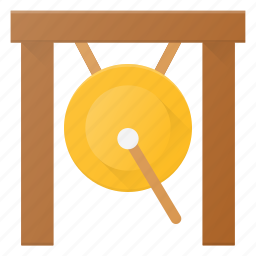 gong, instrument, music, play icon