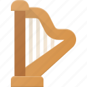 harph, instrument, music, play icon