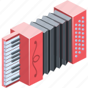 acoustic, national, button, isolated, musician, traditional, harmonica, melody, keyboard, education, orchestra, classic, entertainment, background, musical, red, 3d, group, leisure, culture, flat, color, old, object, illustration, design, symbol, sign, white, style, accordion, isometric, play, art, music, element, instrument, concert, equipment, russian, closeup, folk, harmonic, concertina, classical, sound