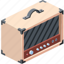 modern, cabinet, loud, button, music, illustration, sound, rock, speaker, retro, amp, metal, audio, isometric, band, power, group, symbol, object, performance, stage, combo, design, professional, box, equipment, black, vintage, panel, knob, equalizer, rhythm, studio, concert, blues, white, musical, play, guitar, instrument, bass, amplifier, isolated, heavy, overdrive, electric, background, volume, old, distortion icon