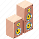 acoustic, amplifier, audio, background, bass, box, button, concept, design, disco, electrical, electronic, entertainment, equipment, flat, graphic, group, illustration, isolated, isometric, listen, loud, loudspeaker, media, modern, monitor, multimedia, music, musical, object, play, power, rock, sound, speaker, speakers, stereo, studio, surround, symbol, system, technology, voice, volume, wave, white, woofer icon