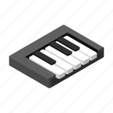 isometric, key, music, octave, piano, sound, synthesizer icon
