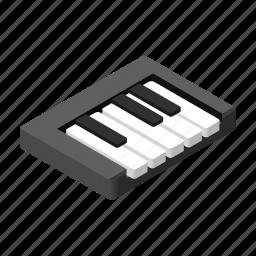 isometric, key, music, octave, piano, sound, synthesizer icon