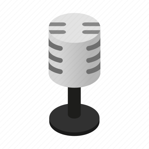 audio, equipment, isometric, microphone, radio, retro, sound icon