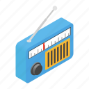fm, isometric, net, radio, speaker, station, website icon