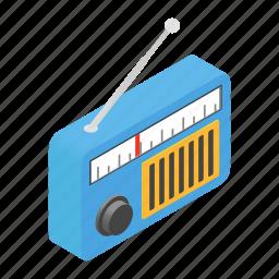 fm, isometric, net, radio, speaker, station, website icon
