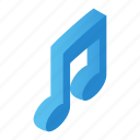 isometric, line, melody, music, musical, note, sound icon