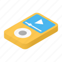 audio, isometric, media, mp3, music, player, sound icon