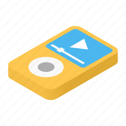 audio, isometric, media, mp3, music, player, sound icon