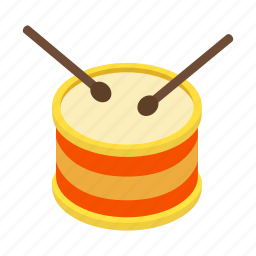 beat, drum, drumstick, isometric, music, musical, snare icon