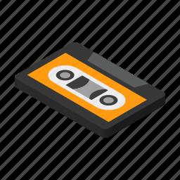 cassette, isometric, music, old, recorder, retro, tape icon