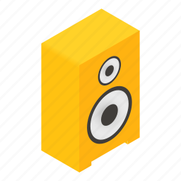 chrome, isometric, leisure, sound, speaker, steel, stereo icon