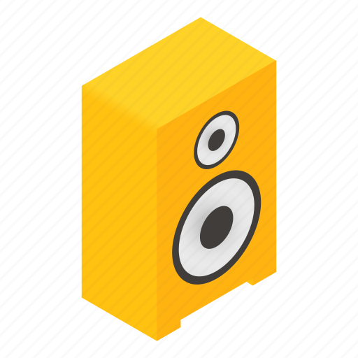 chrome, isometric, leisure, sound, speaker, steel, stereo icon