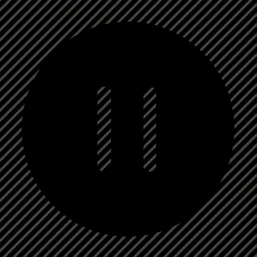 audio, media, music, pause, player, round, sound, volume icon