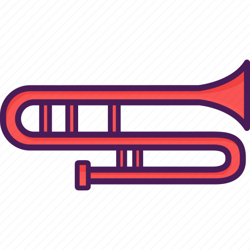 brass, instrument, tenor, trombone, vibrating icon