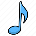 eighth note, music, music notes, musical notation, musical symbol, songs concept icon