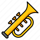brass, cornet, marching band, music instrument, orchestra, trumpet icon