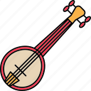 banjo, instruments, music, north america icon