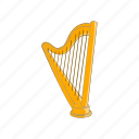 cartoon, harp, instrument, music, musical, sign, string icon