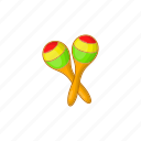 cartoon, design, fiesta, latin, maracas, sign, traditional icon