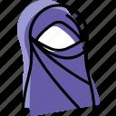 islam, muslim, niqab, profile, user, woman icon