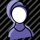 burkini, islam, muslim, profile, user, woman icon