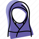 islam, khimar, muslim, profile, user, woman icon