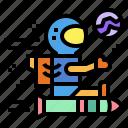 astronaut, nasa, planet, rocket icon