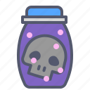 bottle, death, experiment, skull icon