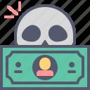 dead, dollar, fiscal, skull, terminated icon