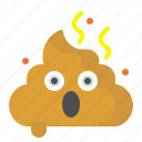 emoji, face, fear, poo, shit, shocked icon