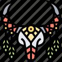 buffalo, bull, decorative, skull, tribal icon