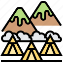 campground, mountain, nature, teepee, tribe icon
