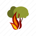 charcoal, danger, extinguish, fire, illuminate, panic, woods icon