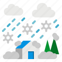 blizzard, home, nature, snow, weather icon
