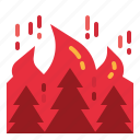 burning, fire, flammable, forest, tree icon