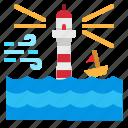 flood, lighthouse, sea, storm, wave icon