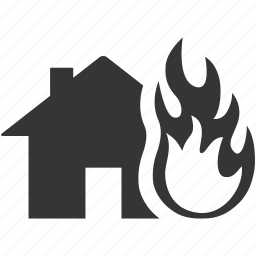 burn, danger, fire, flame, home, house, insurance, risk, warning icon