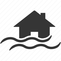 danger, disaster, flood, hazard, home, house, insurance, natural, risk, safety, water icon