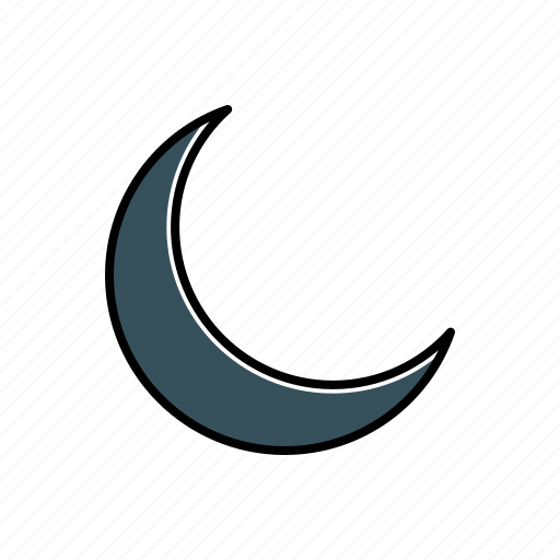 crescent, moon, nature, weather icon