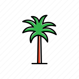 green, nature, palm, tree icon