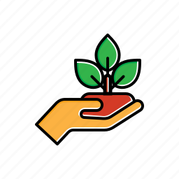 green, hand, nature, plant icon