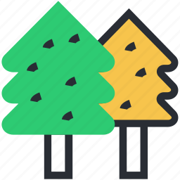 evergreen trees, fir trees, nature, pine trees, poplar trees icon