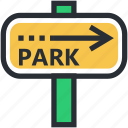 arrow hint, arrow indication, guidepost, park, signpost icon
