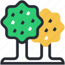ecology, greenery, nature, trees, two trees icon