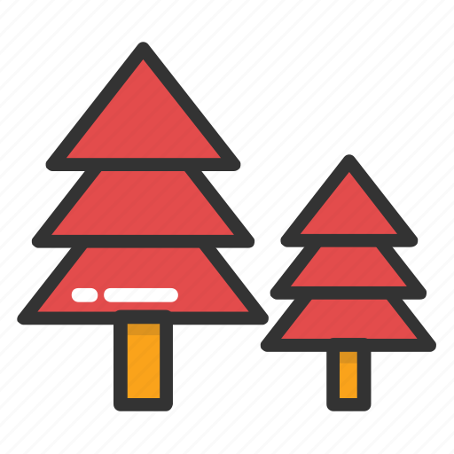 christmas trees, evergreen trees, fir trees, forest, trees icon