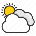cloudy day, cloudy weather, pleasant day, pleasant weather, sun with cloud icon