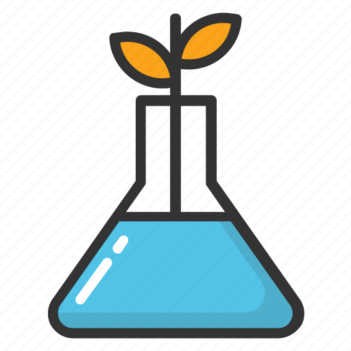 ecolab, experimental growth of plant, laboratory analysis of plant, laboratory flask planter, plant growing laboratory flask icon